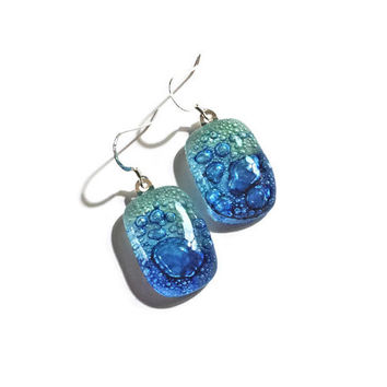 Artisan Glass Earrings in Aqua and Green Bubble