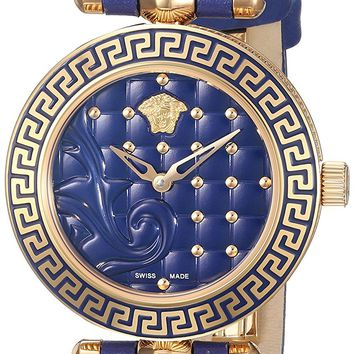 Versace Women's Vanitas Micro Swiss Quartz Stainless Steel and Leather Watch (Model: VQM090016)