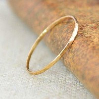 Solid 14k Rose Gold Super Thin Stacking Rings