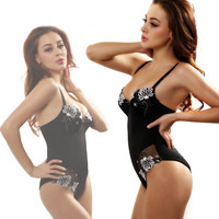 Sexy Flower Lace Solid Strap Bodysuit One Piece Swimwear Bikini Swimsuit