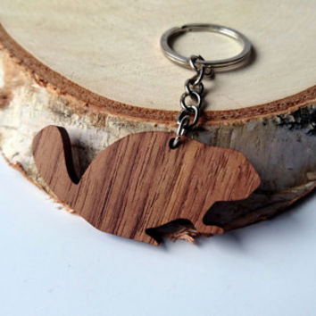 Wooden Beaver Keychain, Walnut Wood, Animal Keychain, Environmental Friendly Green materials