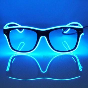 Flashing EL Glow Glasses Wire LED Eye Glasses For Party Costume Ball Disco Clubs Haloween Christmas Birthdays Festivals