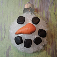 Glass Snowman Ornament - round flat Christmas ornament - Snowy Frosty the Snowman - Handmade in Michigan