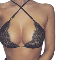 Summer Fashion Lace Hollow out Women Bra Sexy Halter top lingerie cropped bralette Cross Strap push up haut bustier Y1