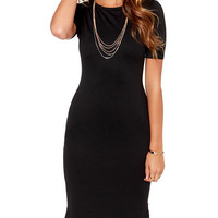 Short Sleeve Midi Dress with Side Metal Zippers