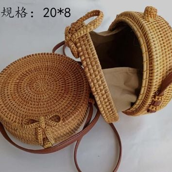 Exotic Brown Round Rattan Straw Handbag (Charm Add-on Option)