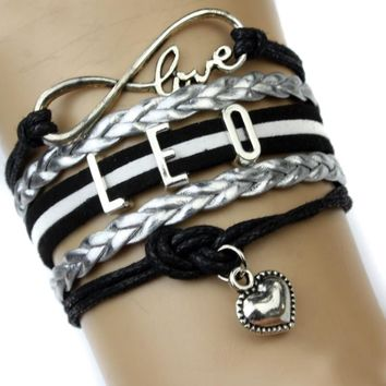 Infinity Love Leo Charm Heart Bracelet Twelve Constellations The Signs of the Zodiac Bracelet Black Silver