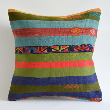 Sukan / Hand Woven Vintage Turkish Kilim Pillow Cover, Decorative Pillow, Throw Pillow Cover, Accent Pillow, 16x16 inch