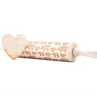 Pig - Embossed, engraved rolling pin for cookies