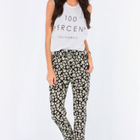 Meadow Superstar Ivory and Black Floral Print Pants