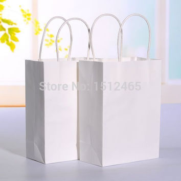 Free shipping,10pcs/lot  White kraft paper bag with handle Party Gift Paper Bags Wedding Favors 21*15*8cm  STD01-4