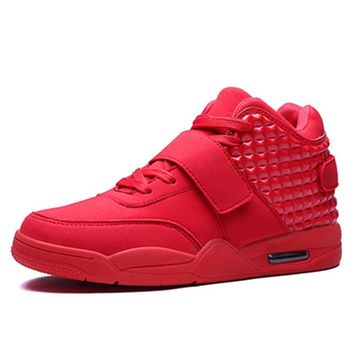 Men Casual Shoes High Top Fashion Suede Leather Flat Women Trainers Basket Femme Red B