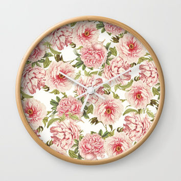 old fashioned peonies Wall Clock by Sylvia Cook Photography