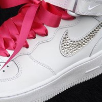 Customised White Nike Air Force  from Added-Sparkles