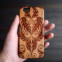 Cherry Wood Phone Case , Custom Wooden iPhone 6 6s Case , Engraved iPhone 6 6s Wood Case , iPhone 6 6s Case Wood , Valentine's Gifts for him