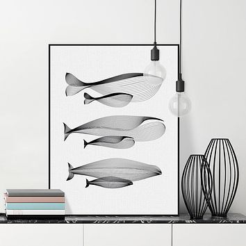 Best whale wall decor products on wanelo for Minimal art family