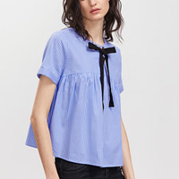 Blue Striped Eyelet Tie Neck Babydoll Top | MakeMeChic.COM