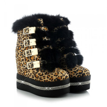 Plus Size 34-40 High Quality Women Round Toe Winter Sneakers Leopard Shoes 4.5cm Platform Fur Autumn Wedge Ankle Boots