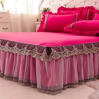 1/3Pcs Rose Red Lace Bed Skirt Pillow cases Wedding Princess Bedding Girls Bedspread Bed sheet For Gifts King/Queen/Full size