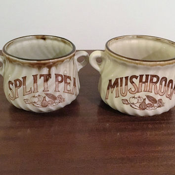 Vintage 1960s Brown Ceramic Handled Soup Bowls - Split Pea & Mushroom / Made in Japan / Retro Japanese Pottery