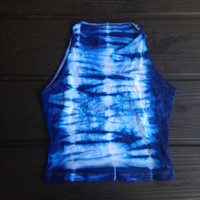 Tie Dye Crop Top American Apparel Shibori Tie Dyed 70s Tumblr Brandy Melville