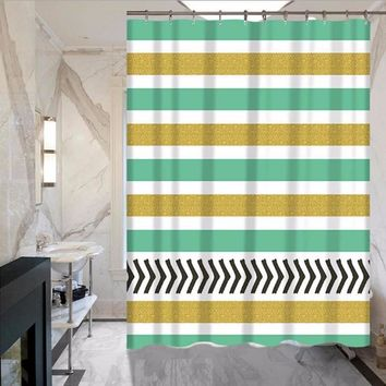 Bathroom Color Stripes Printing Hanging Shower Curtain