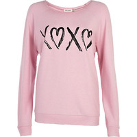 River Island Womens Pink XOXO print dolman top