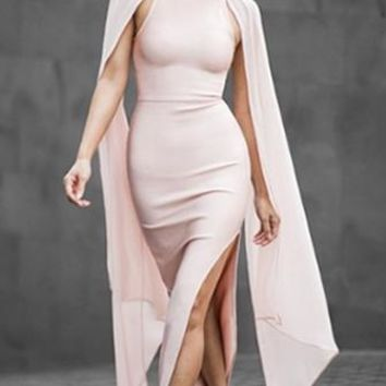 Bel Air Bombshell Pink Beige Cape Batwing Mesh Slit Long Sleeves Scoop Neck Bodycon Bandage Maxi Dress - 2 Colors Available