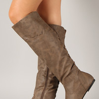 Pad-16 Corset Round Toe Knee High Flat Boot