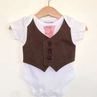 Newborn boy clothes size 0 to 3 months, pink and brown vest and tie, baby waistcoat, baby boy clothes, baby photo prop UK