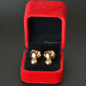 Earring Jacket  - Front and back gold earrings - Christmas Gift ,Gift for her,Christmas decor