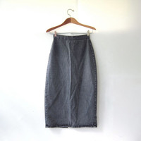 Vintage 80s Blak Jean Skirt. High Waist Denim Skirt. Midi length skirt.