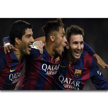 S631 Lionel Messi Neymar Football Player Super Star Wall Art Painting Print On Silk Canvas Poster Home Decoration