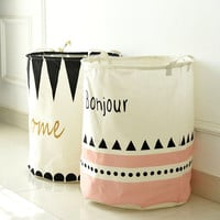 Cotton & Linen Foldable Buckets Clothes Washing Laundry Basket Hamper Storage Organizer Bag #87109