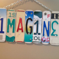 IMAGINE SIGN Recycled - Repurposed - Upcycled IMAGINE License Plate Wall Hanging
