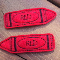 Felt snap clip barrettes Bright red crayons set of 2