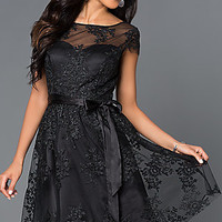 Short Embroidered Black Party Dress 261611 by Jump