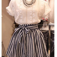 White Floral Lace T-Shirt and Blue Striped Bow Tie Skater Skirt
