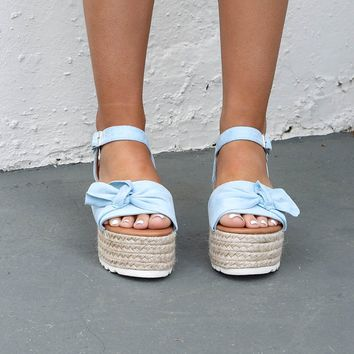 Boca Beach Light Blue Platform Espadrilles