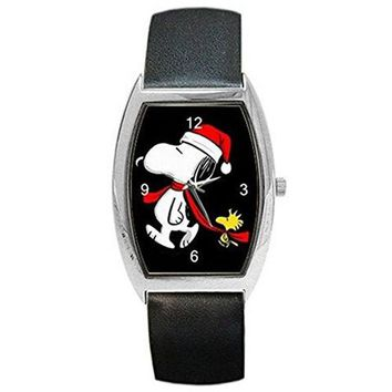 Christmas , Snoopy (in Santa Cap) and Woodstock Walking on a Barrel Watch with Leather Band