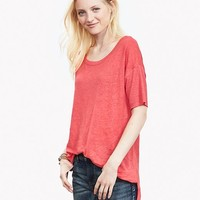 Banana Republic Womens Heritage Ribbed Linen Tee