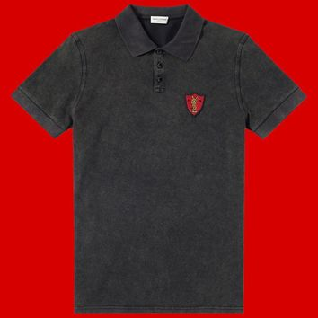 Washed Red YSL Logo Polo Shirt by Saint Laurent