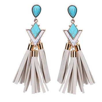 Leatherette Tassel Turquoise Drop Earrings