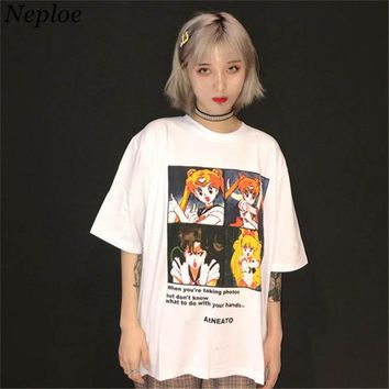 Neploe 2018 Japanese Style Summer T Shirt Cartoon Sailor Moon Print Tee Shirts New Harajuku Causal Tees And Tops Camisetas 35995