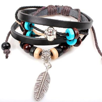 New Indian Style Wooden Bead Wrist Bracelet Leather Feather Jewelry