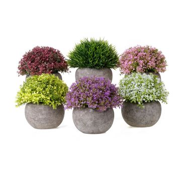Pack of 3 or 6 Artificial Potted Plants