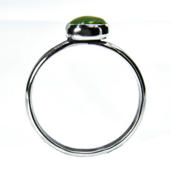 Jade Stacking Ring in Sterling Silver, Silver Ring with Jade Gem