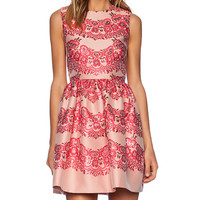 Red Valentino Lace Brocade Fit and Flare Dress in Pink