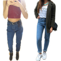 High Waist Vintage Women Autumn Jeans
