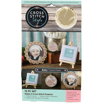 Wood Baby Trend Pack Punched For Cross Stitch Kit-